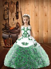 Fabric With Rolling Flowers Sleeveless Floor Length Glitz Pageant Dress and Embroidery and Ruffles