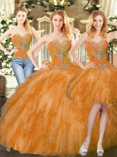 Orange Red Three Pieces Sweetheart Sleeveless Organza Floor Length Lace Up Beading and Ruffles 15th Birthday Dress