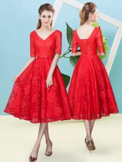 Tea Length Lace Up Bridesmaid Dress Red for Prom and Party and Wedding Party with Bowknot