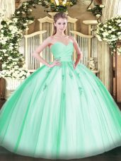 Fancy Floor Length Apple Green Quinceanera Gown Sweetheart Sleeveless Lace Up
