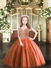 Rust Red Straps Lace Up Beading Custom Made Pageant Dress Sleeveless
