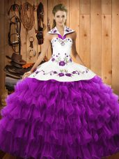 Embroidery and Ruffled Layers Vestidos de Quinceanera Eggplant Purple Lace Up Sleeveless Floor Length