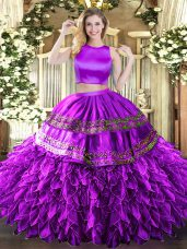Trendy Sleeveless Ruffles and Sequins Criss Cross Ball Gown Prom Dress