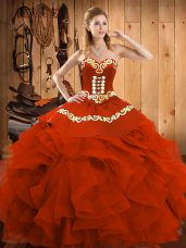 Graceful Floor Length Ball Gowns Sleeveless Rust Red Quinceanera Dresses Lace Up