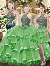 Hot Selling Floor Length Green Quinceanera Gowns Organza Sleeveless Beading and Ruffled Layers