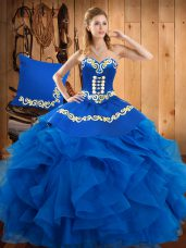 Dynamic Floor Length Ball Gowns Sleeveless Blue Quince Ball Gowns Lace Up