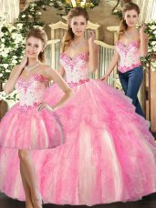 Custom Made Rose Pink Sleeveless Beading and Ruffles Floor Length Sweet 16 Dress