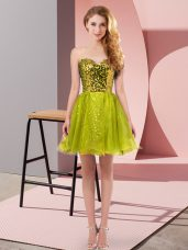 On Sale A-line Prom Gown Olive Green Sweetheart Tulle Sleeveless Mini Length Zipper
