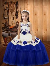 Straps Sleeveless Organza Girls Pageant Dresses Embroidery and Ruffled Layers Lace Up