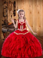 Red Ball Gowns Organza Straps Sleeveless Embroidery and Ruffles Floor Length Lace Up Womens Party Dresses