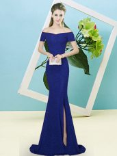 Unique Short Sleeves Sequined Sweep Train Zipper Prom Gown in Royal Blue with Sequins