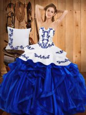 Suitable Satin and Organza Strapless Sleeveless Lace Up Embroidery and Ruffles Quinceanera Gowns in Blue