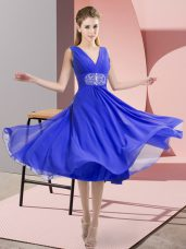 Blue Side Zipper Quinceanera Court of Honor Dress Beading Sleeveless Knee Length