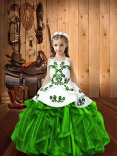 Pageant Dress for Girls Sweet 16 and Quinceanera with Beading and Ruffles Straps Sleeveless Lace Up