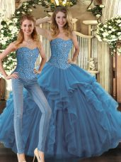 Dazzling Sleeveless Tulle Floor Length Lace Up Sweet 16 Dress in Teal with Beading and Ruffles