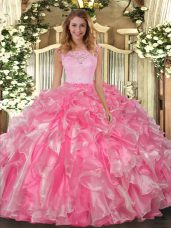 Stylish Hot Pink Sleeveless Lace and Ruffles Floor Length Sweet 16 Quinceanera Dress