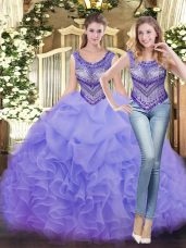 Fitting Floor Length Lavender Quinceanera Gowns Scoop Sleeveless Lace Up
