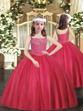 Dramatic Floor Length Coral Red Pageant Dress Tulle Sleeveless Beading
