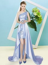 Low Price One Shoulder Sleeveless Elastic Woven Satin and Sequined Sequins Lace Up
