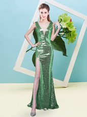 Artistic Turquoise Mermaid V-neck Sleeveless Sequined Floor Length Zipper Sequins Prom Party Dress