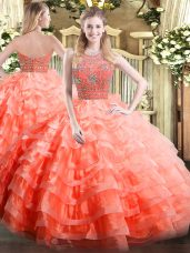 Luxurious Orange Red Ball Gowns Halter Top Sleeveless Organza Floor Length Zipper Beading and Ruffled Layers Sweet 16 Dresses