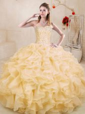Spectacular Gold Lace Up Sweetheart Beading and Ruffles Ball Gown Prom Dress Organza Sleeveless