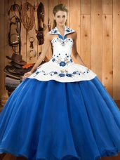 Halter Top Sleeveless Lace Up Quince Ball Gowns Blue And White Satin and Tulle