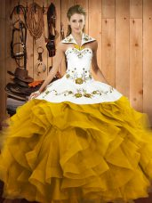 Traditional Halter Top Sleeveless Tulle Quinceanera Dress Embroidery and Ruffles Lace Up