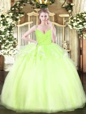 Sleeveless Zipper Floor Length Ruffles Sweet 16 Quinceanera Dress
