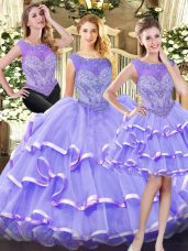 Beading and Ruffled Layers 15 Quinceanera Dress Lavender Zipper Sleeveless Floor Length