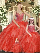 Fantastic Straps Sleeveless Organza Quinceanera Dresses Beading and Ruffles Lace Up