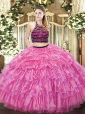 Exceptional Halter Top Sleeveless Zipper Quinceanera Dress Rose Pink Organza