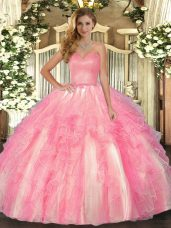 Trendy Sleeveless Lace Up Floor Length Ruffles Quinceanera Gown