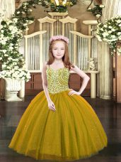 Sleeveless Floor Length Beading Lace Up Pageant Dress for Teens with Brown