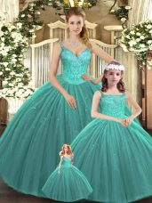 On Sale Turquoise Tulle Lace Up Quince Ball Gowns Sleeveless Floor Length Beading