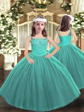 Latest Sleeveless Floor Length Beading Lace Up Pageant Dresses with Teal