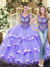 Lavender Ball Gowns Tulle Scoop Sleeveless Beading and Ruffled Layers Floor Length Lace Up Ball Gown Prom Dress