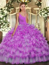 Floor Length Backless Quinceanera Gowns Lilac for Sweet 16 and Quinceanera with Beading and Ruffles