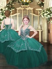 Floor Length Ball Gowns Sleeveless Dark Green Pageant Dress for Teens Lace Up