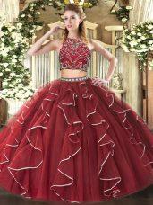 Noble Sleeveless Floor Length Beading and Ruffles Zipper Quinceanera Dress with Burgundy
