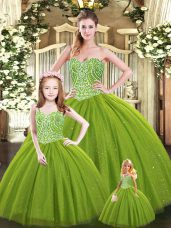 Olive Green Ball Gowns Sweetheart Sleeveless Tulle Floor Length Lace Up Beading Sweet 16 Quinceanera Dress
