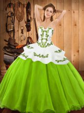 Beautiful Ball Gowns Embroidery Quinceanera Gowns Lace Up Satin and Organza Sleeveless Floor Length