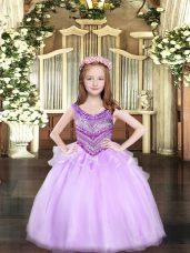 Great Lilac Sleeveless Beading Floor Length Pageant Dresses