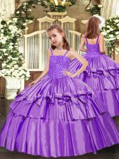 Sleeveless Beading and Ruffled Layers Lace Up Pageant Dress for Girls