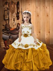 Eye-catching Embroidery and Ruffles Little Girl Pageant Dress Gold Zipper Sleeveless Floor Length