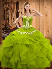 Classical Olive Green Sleeveless Floor Length Embroidery and Ruffles Lace Up Quinceanera Gown