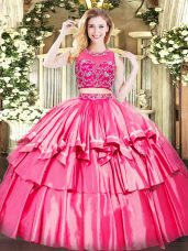 Tulle Sleeveless Floor Length 15 Quinceanera Dress and Beading and Ruffled Layers