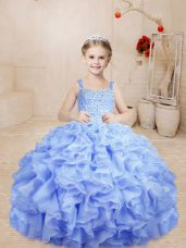 Custom Design Lavender Lace Up Pageant Gowns Beading and Ruffles Sleeveless Floor Length