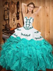 Embroidery and Ruffles Ball Gown Prom Dress Aqua Blue Lace Up Sleeveless Floor Length