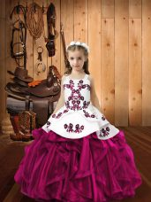 Floor Length Fuchsia Little Girls Pageant Dress Organza Sleeveless Embroidery and Ruffles